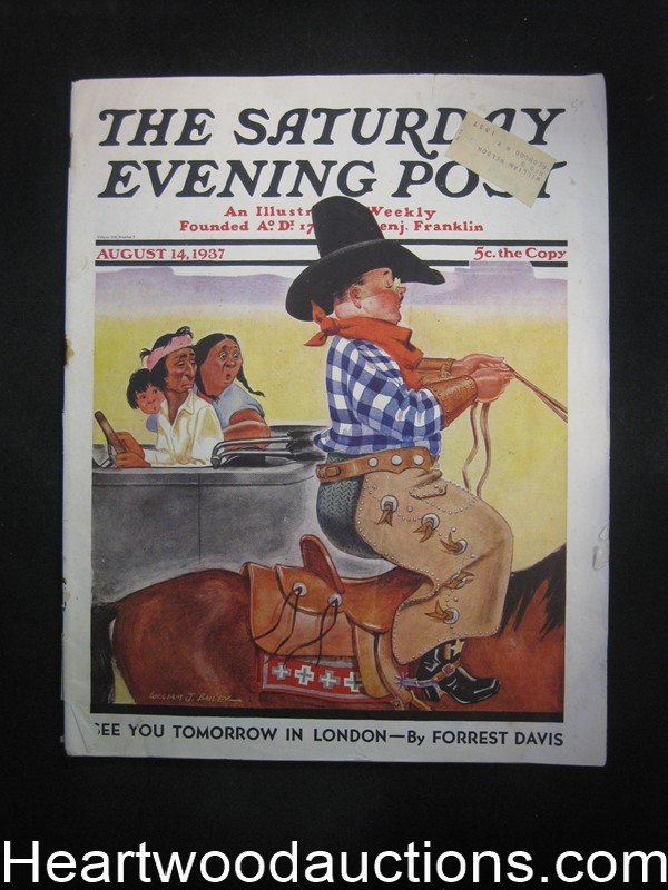 Saturday Evening Post Aug 14, 1937 Bailey Cvr, Wodehouse