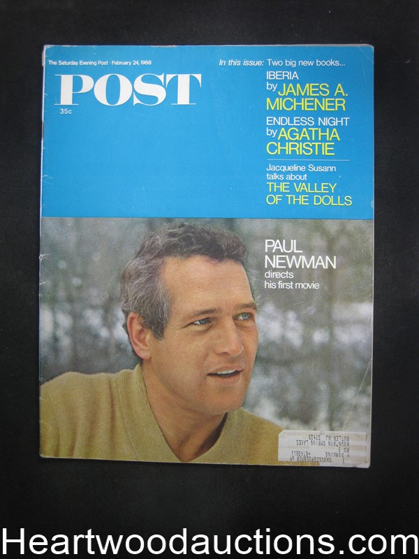 Saturday Evening Post Feb 24, 1968 Agatha Christie, Paul Newman
