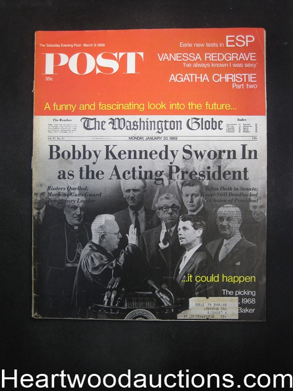 Saturday Evening Post Mar 9, 1968 Agatha Christie, Vanessa Redgrave, Bobby Kennedy Cvr
