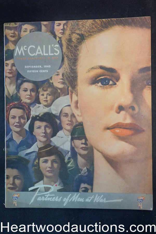 McCall's Sep 1943 Cannon Towles gay soldiers ad; Camel ads; RG. Harris art - High Grade