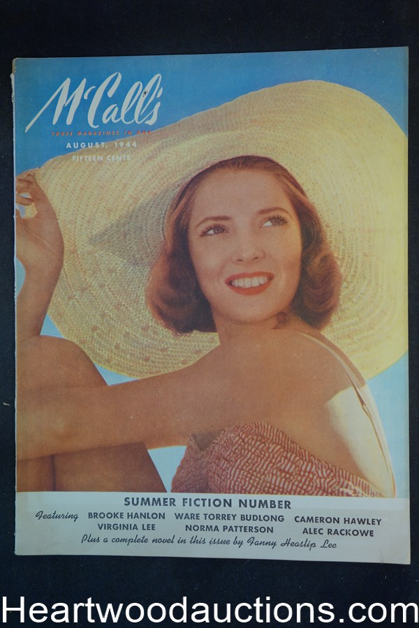 McCall's Aug 1944 Andrew Loomis Art, Avon ad salutes female Marine, Chesterfield ad