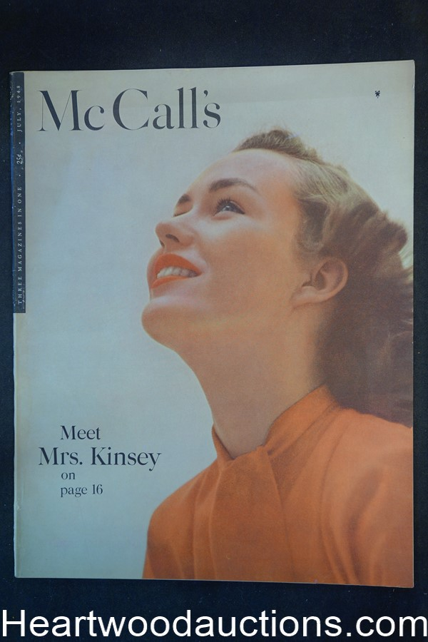 McCall's Jul 1948 Mrs. Kinsey  Ogden Nash poems, ?First Child, Second Child?, Jon Whitcomb;
