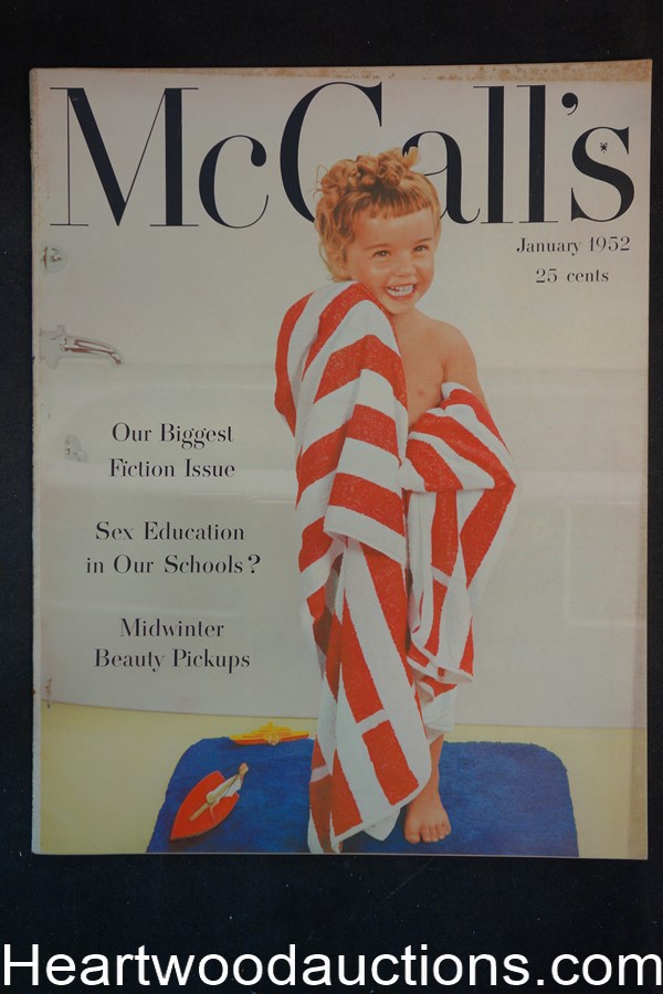 McCall's Jan 1952 ; John D.  McDonald , Sex Ed in school;  Fiction issue, Ads for Delmonte, Campbell's Jell-O