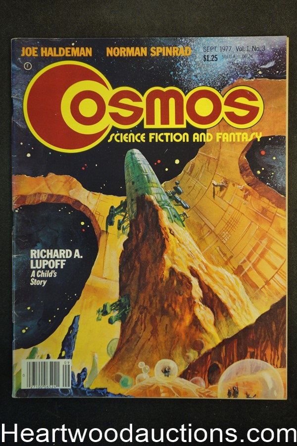 Cosmos Sep 1977 Schomburg Art, Richard Lupoff, Brian Aldiss, Jack Gaughan Cover - High Grade