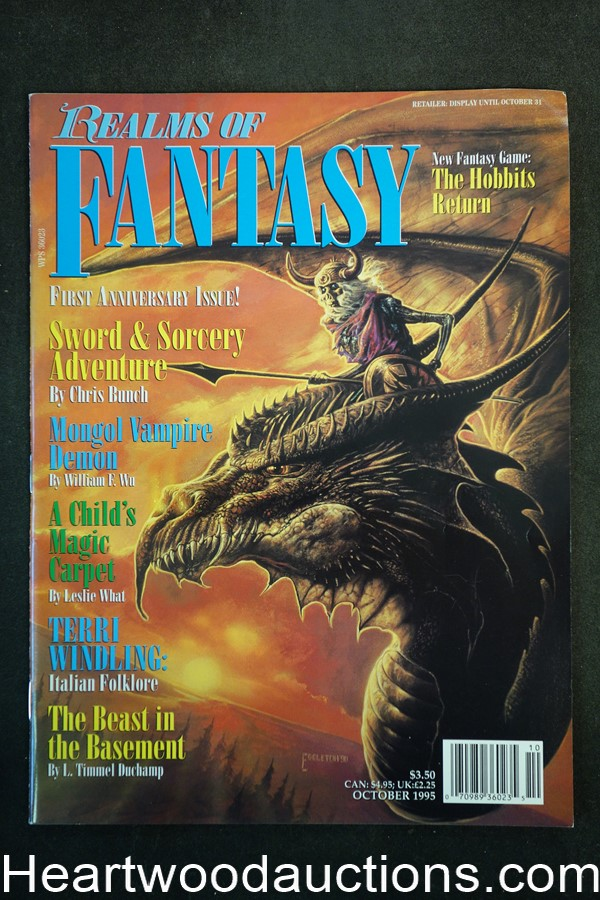 Realms of Fantasy Oct 1995 Bob Eggleton Cover, Gahan Wilson - High Grade