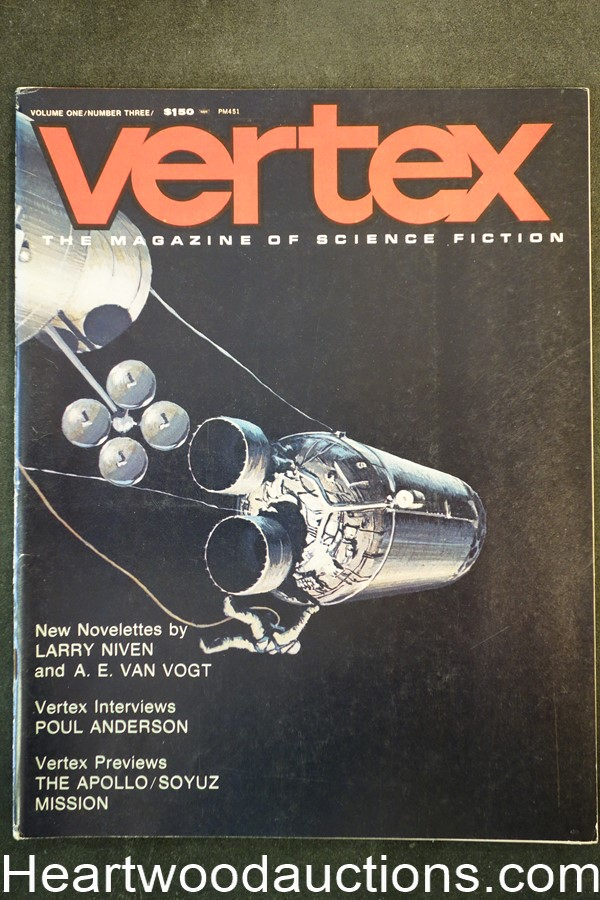 Vertex Aug 1973 Ray Bradbury, Harlan Ellison, Robert Silverberg, Harry Harrison  - High Grade