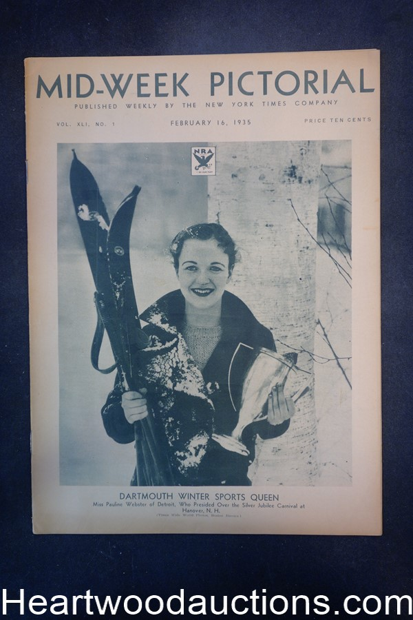 N.Y. Times Mid-Week Pictorial Feb 16, 1935 Dartmouth Winter Sports Queen