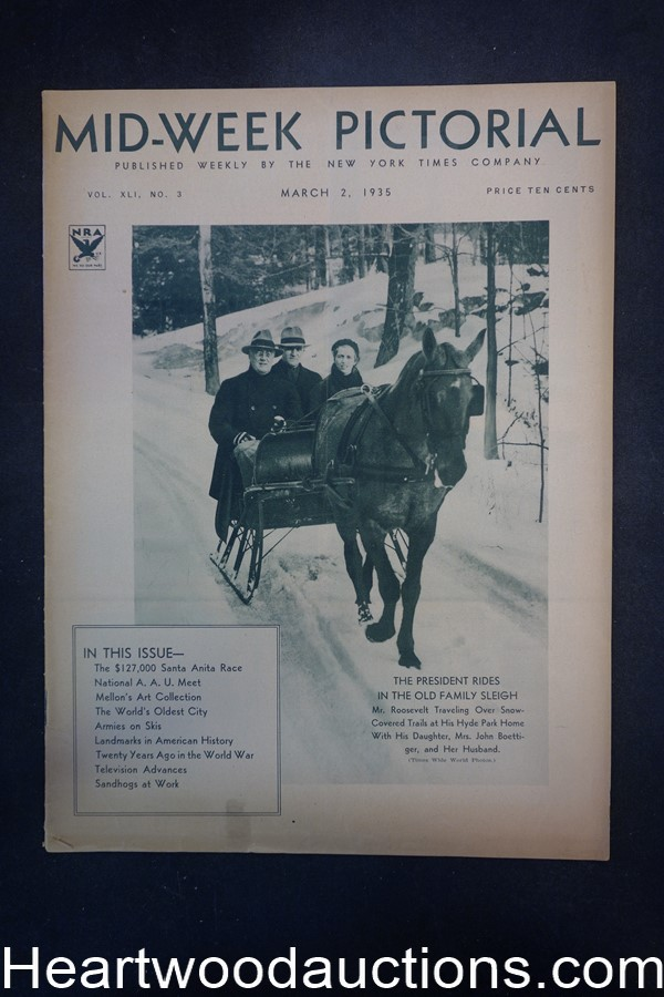 N.Y. Times Mid-Week Pictorial Mar 2, 1935 The President rides in the Old Family Sleigh