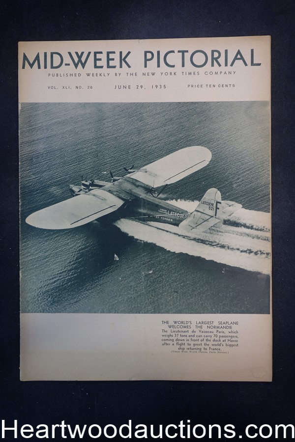 N.Y. Times Mid-Week Pictorial Jun 29, 1935 The Worlds Largest Seaplane Normandie