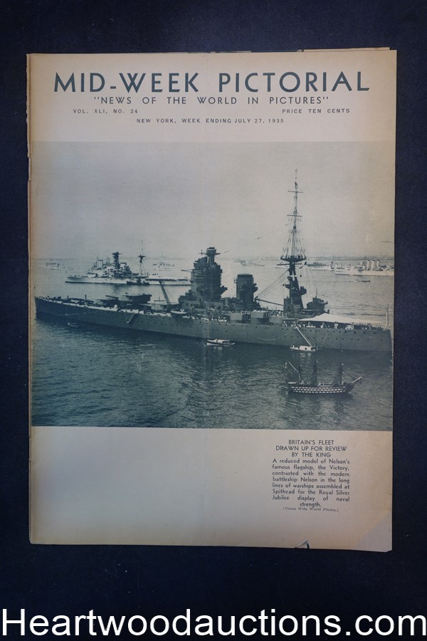 N.Y. Times Mid-Week Pictorial Jul 27, 1935 Britain's Fleet Drawn up for review by the King