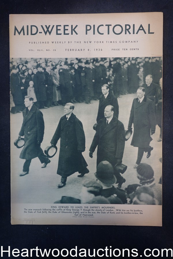 N.Y. Times Mid-Week Pictorial Feb 8, 1936 King Edward VIII leads the empire's mourners