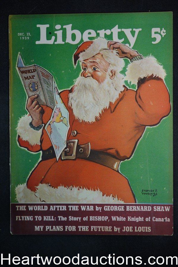 Liberty Dec 23, 1939 Santa Claus Cvr, Boxing-Joe Louis, G. Bernard Shaw, Abdullah