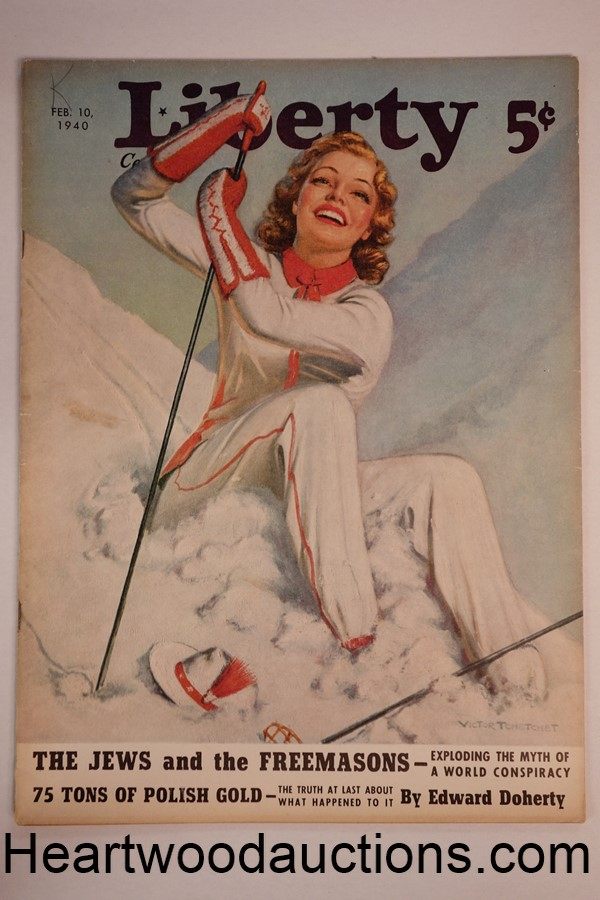 Liberty Feb 10, 1940 Victor Tchetchet GGA snow Skiing Cvr, Freemasons, Baseball - High Grade