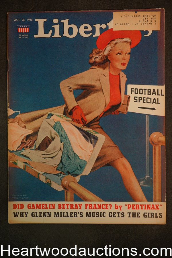Liberty Oct 26, 1940 Glenn Miller, Football, Luke Short, Fred Allhoff, Mussolini