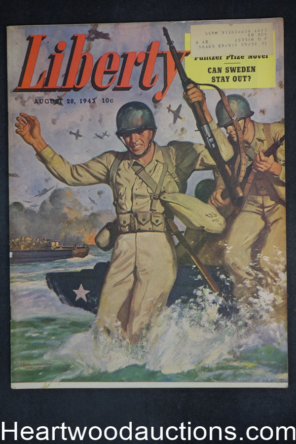 Liberty Aug 28, 1943 John Newton Howitt Cvr, Upton Sinclair, Kate Smith, Steve Fisher