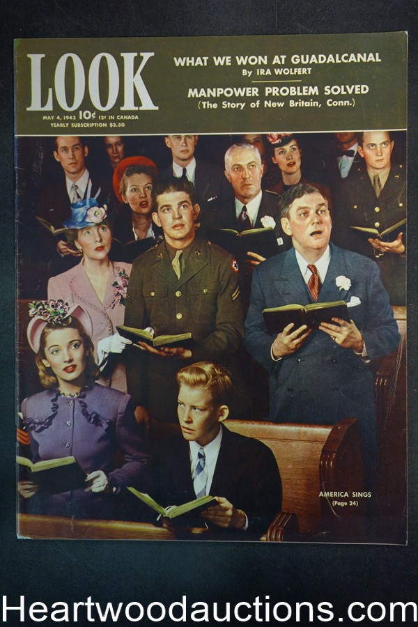 Look May 4, 1943 Veronica Lake, Freddy Martin, Luke Sewell, baseball, WWII - High Grade
