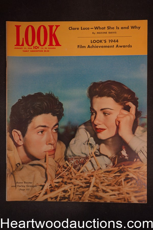 Look Jan 25, 1944 Farley Granger, Anne Baxter, RKO, David O. Selznik - High Grade