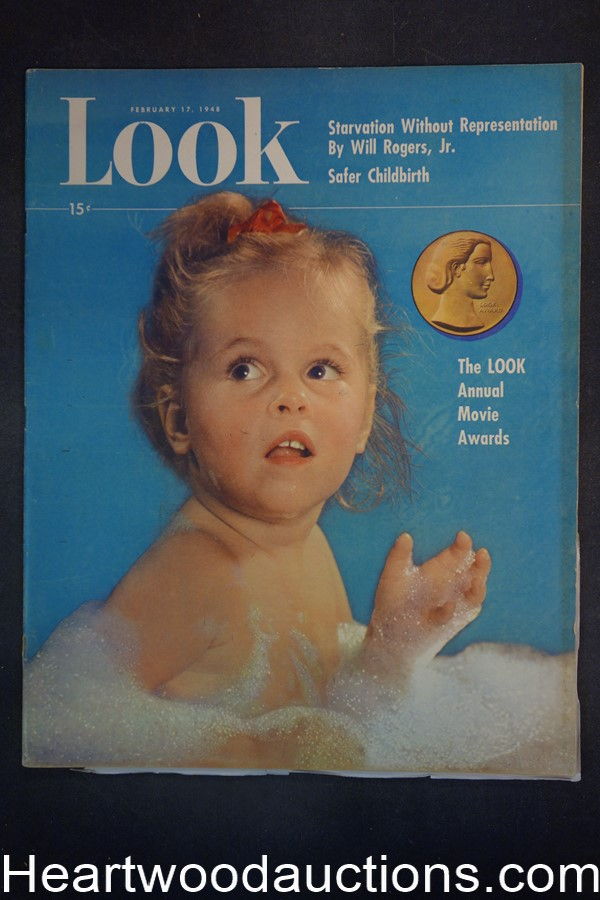 Look Feb 17, 1948 Baby Meets Dog, Academy Awards, sports, cigarettes ads car ads.