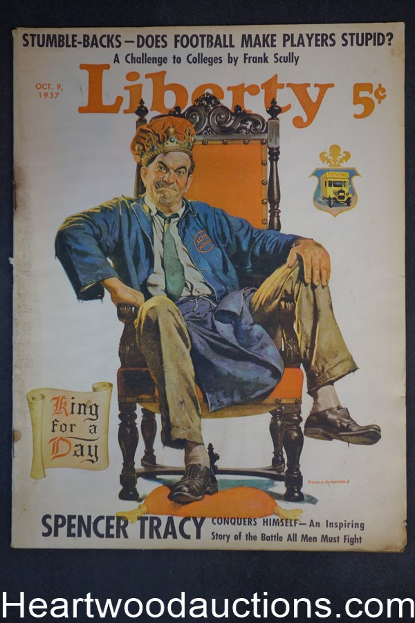 Liberty Oct 9, 1937 Max Brand, Spencer Tracy, Football,