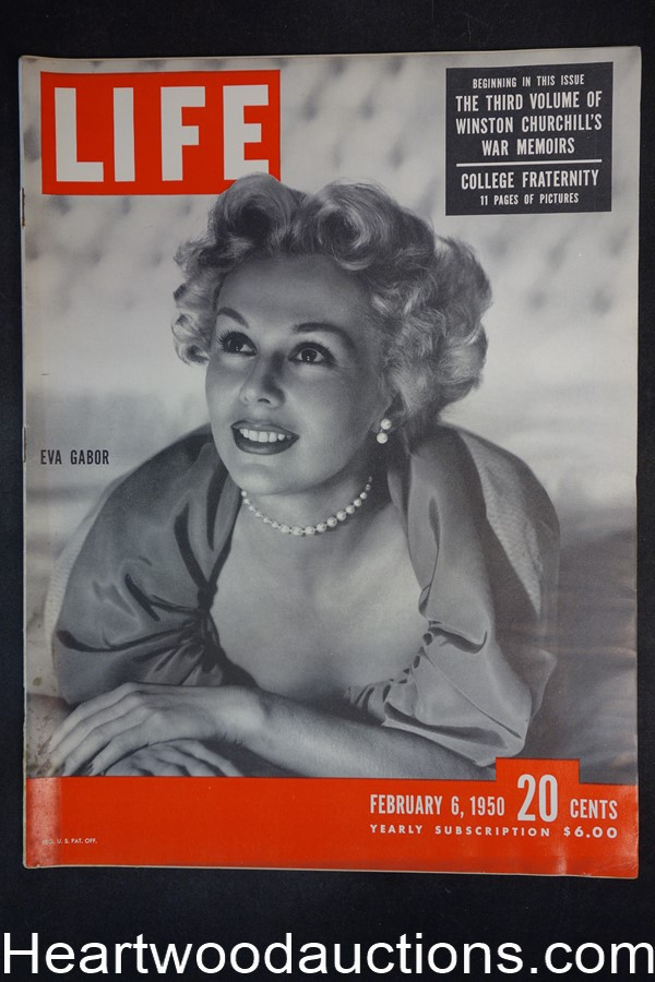 Life Feb 6, 1950 Eva Gabor, Winston Churchill - High Grade