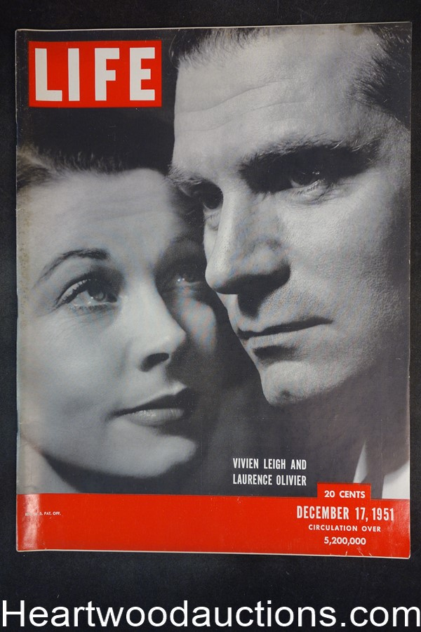 Life Dec 17, 1951 Vivien Leigh, Laurence Olivier, Anthony and Cleopatra - High Grade