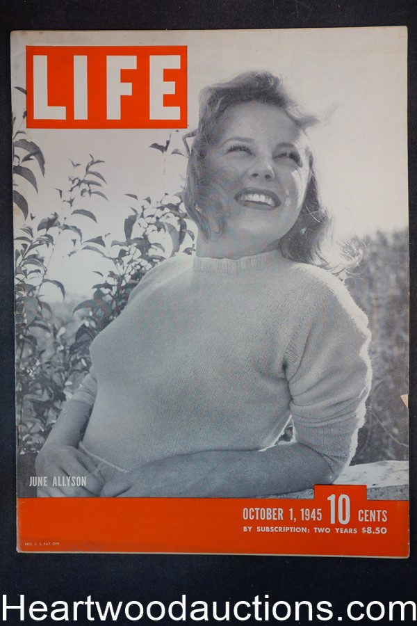 Life Oct 1, 1945 June Allyson, Joe Kennedy, Shirley Temple - High Grade