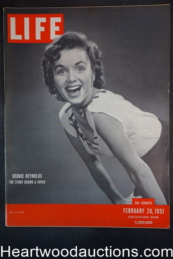 Life Feb 26, 1951 Jon Whitcomb art, Debbie Reynolds, Janet Leigh, ?Scenescope? - High Grade