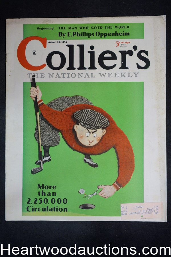 Collier's Aug 18, 1934 E. Phillips Oppenheim, Kathleen Norris, Lucky Strikes