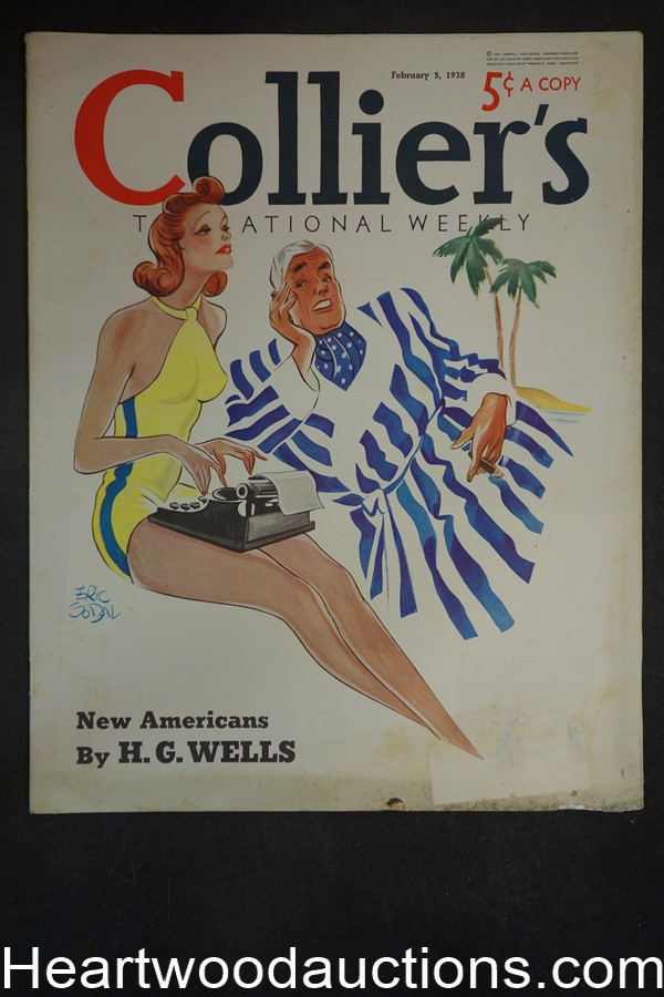 Collier's Feb 5, 1938 H.G. Wells, Sax Rohmer, Oldsmobile, Coca-Cola, Lucky Strike