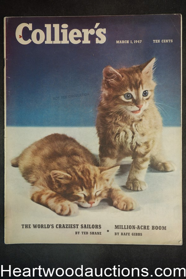 Collier's Mar 1, 1947 Cute kittens on cover, camel cigarettes ad