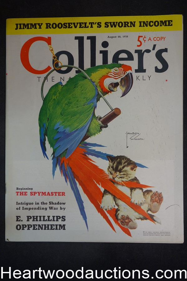 Collier's Aug 20, 1938 Wildlife; Wormser, Oppenheim, Chesterfield; Coca-Cola - High Grade