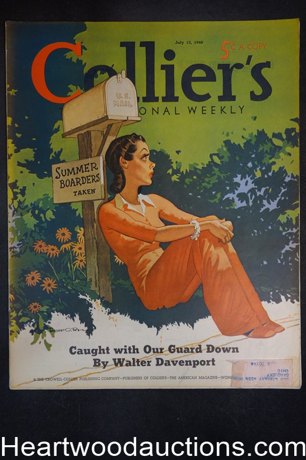 Collier's Jul 13, 1940 Robert O. Reid Cover - High Grade