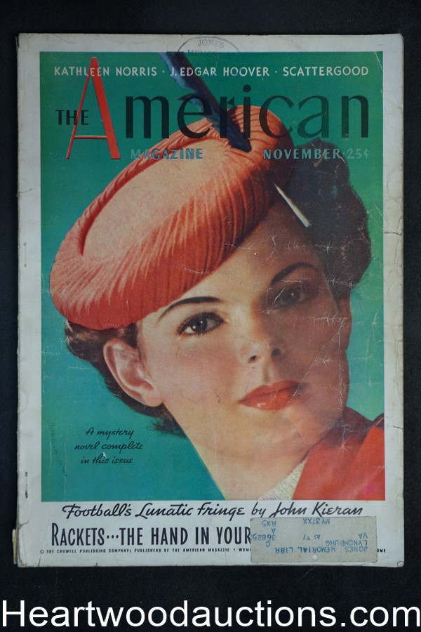 American Nov 1936 Kathleen Norris, J. Edgar Hoover, Football, Hollywood,