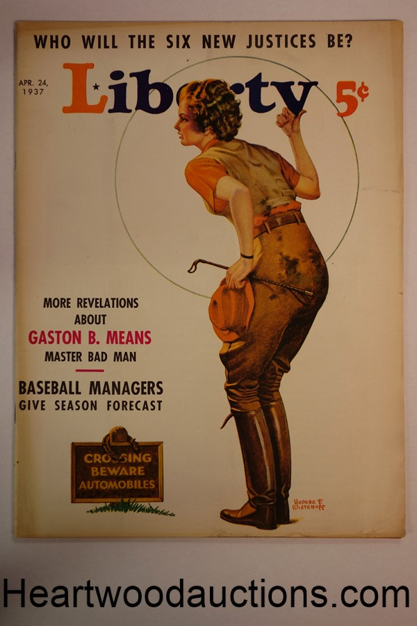 Liberty Apr 24, 1937 Revere F. Wistehoff cover, Baseball Article