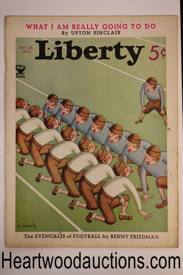 Liberty Oct 20, 1934 A. Crouch cover, Upton Sinclair non-fiction article