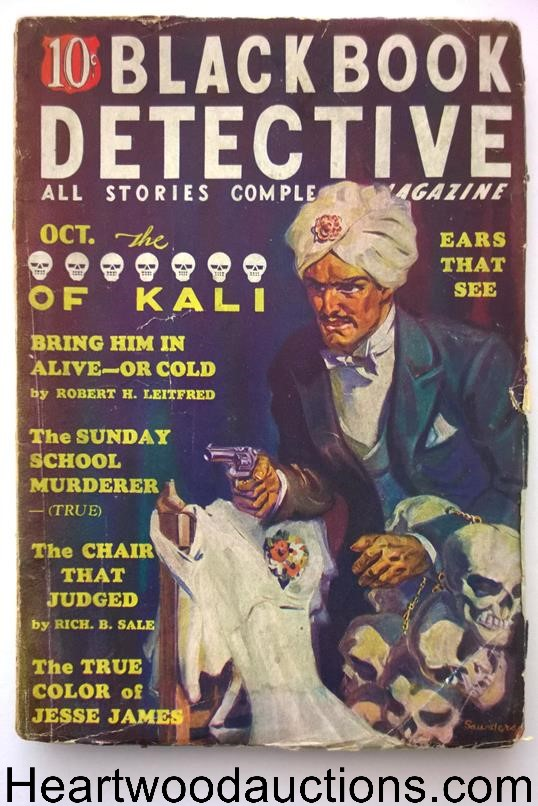 Black Book Detective Oct 1936 Classic Norman Saunders Skull Cover
