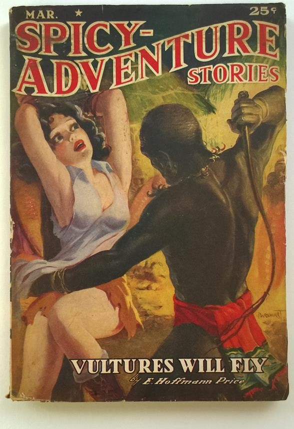 Spicy Adventure Mar 1939 Classic Native Whipping a Bound Girl Cover by Parkhurst