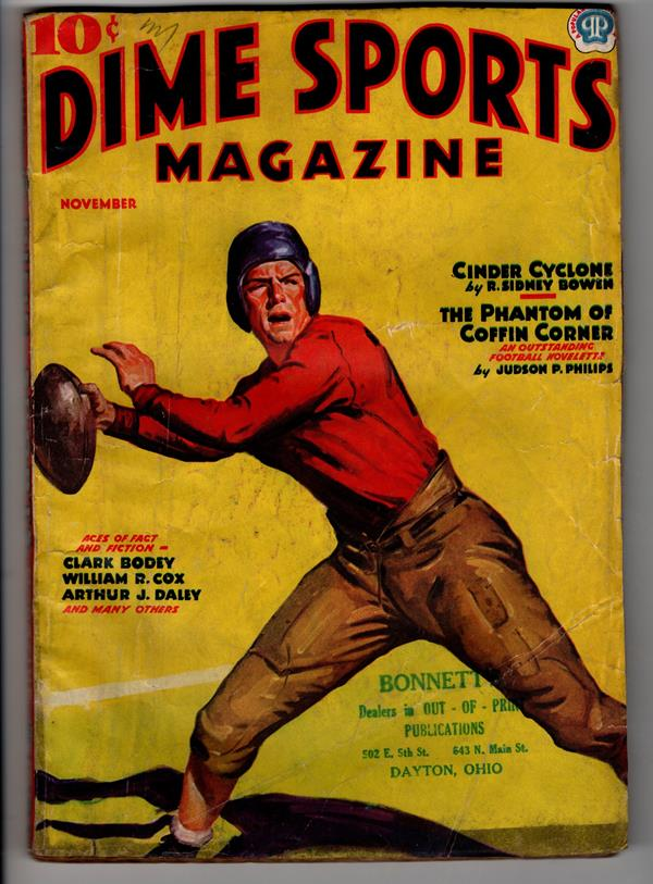Dime Sports Nov 1937 Football cover Judson Phillips