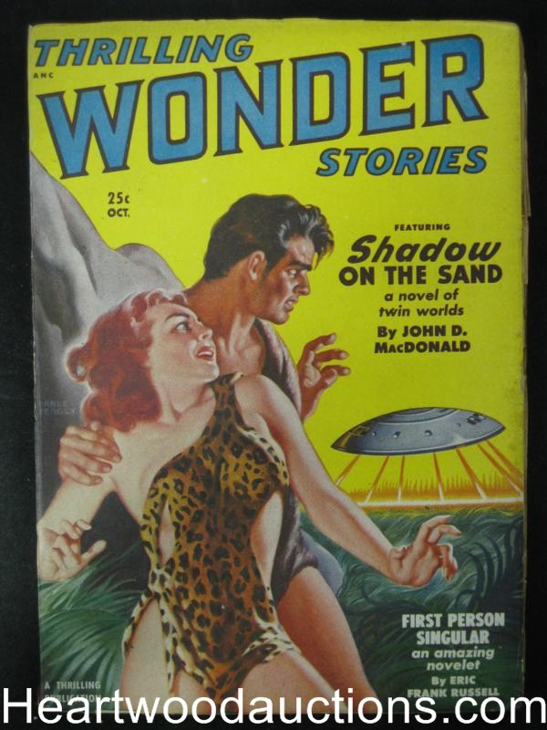 Thrilling Wonder Stories Oct 1950 John D MacDonald Cavegirl GGA- Hgh Grade