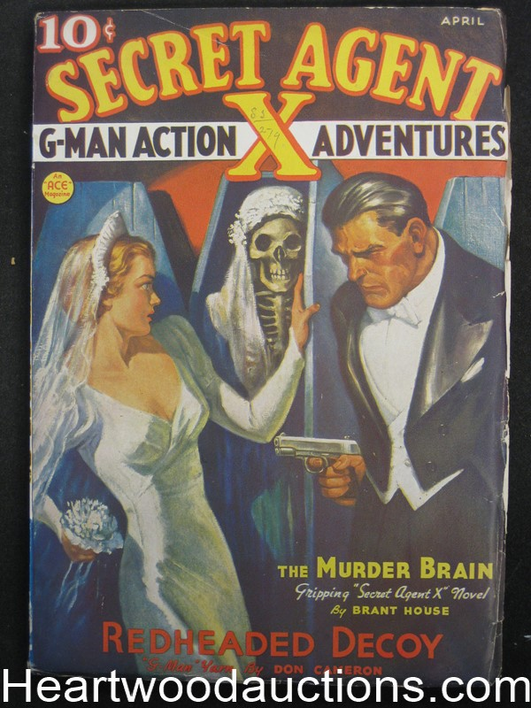 Secret Agent X  Apr 1937  Skeleton Bride Cvr - High Grade
