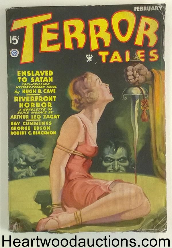 Terror Tales February 1935 Bondage Cover, Hugh B. Cave, Ray Cummings