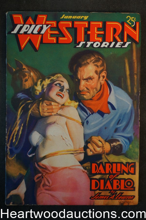 Spicy Western Jan 1937 Classic H.J. Ward Bondage cover Bellum, Merrill - High Grade