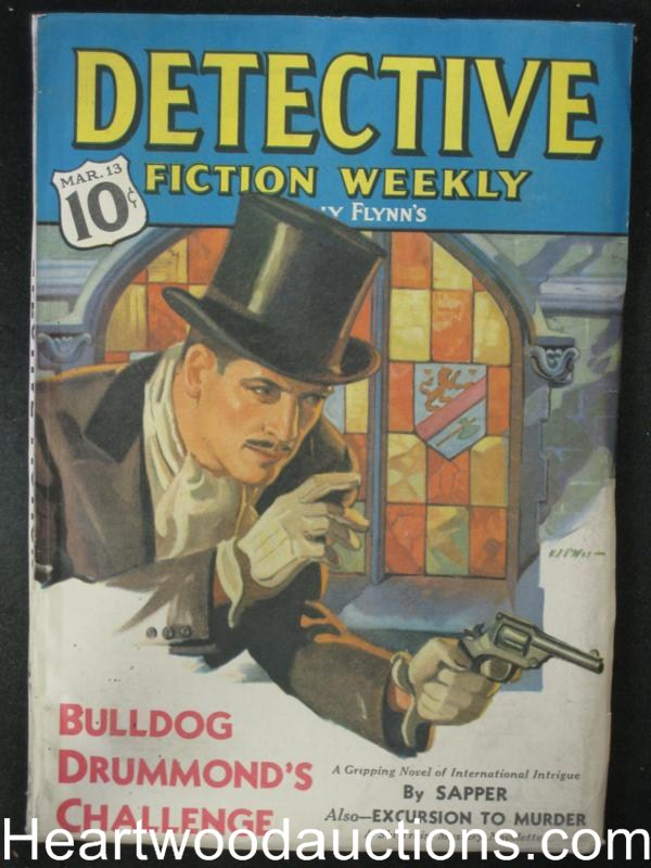 Detective Fiction Weekly Mar 13 1937 Classic Bulldog Drummond Cvr, Cummings,Davis- High Grade
