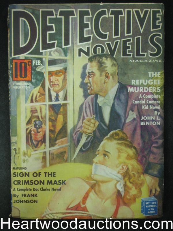 Detective Novel Feb 1941 Bondage Cover, Crimson Mask