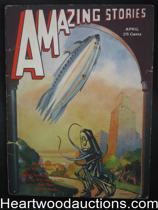 Amazing Stories Apr 1932 Morey Spaceship Cover