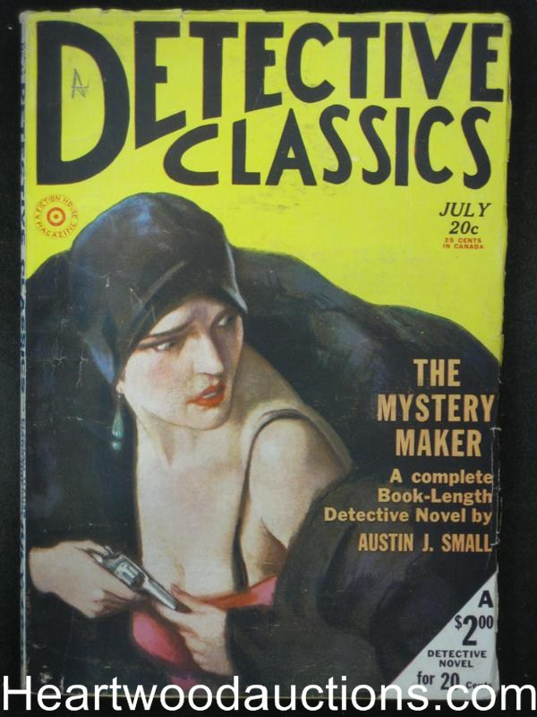 Detective Classics July 1930  Very cool Gun Moll Cvr- High Grade