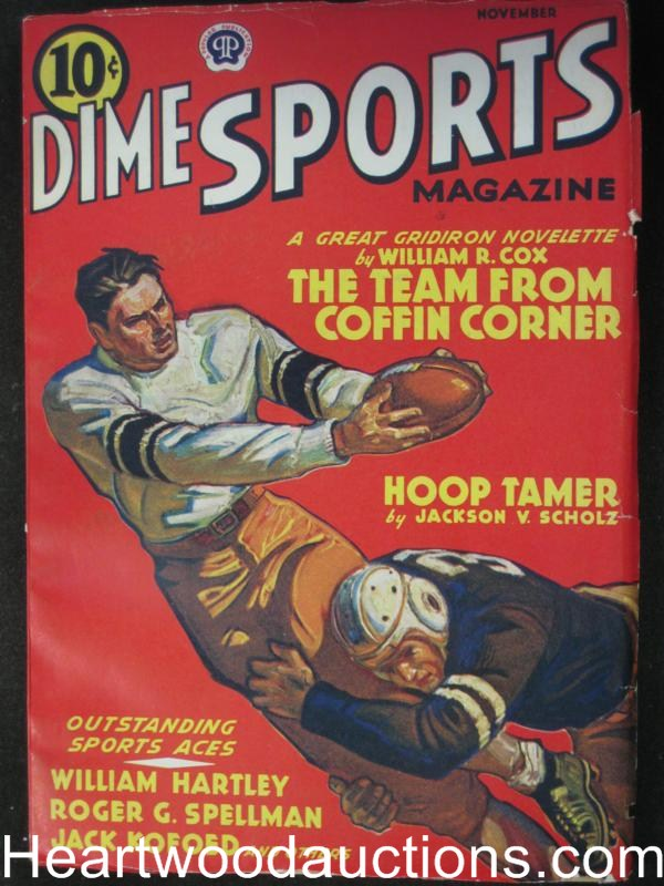 Dime Sports- Nov 1939- The Team from Coffin Corner Football Cvr- High Grade