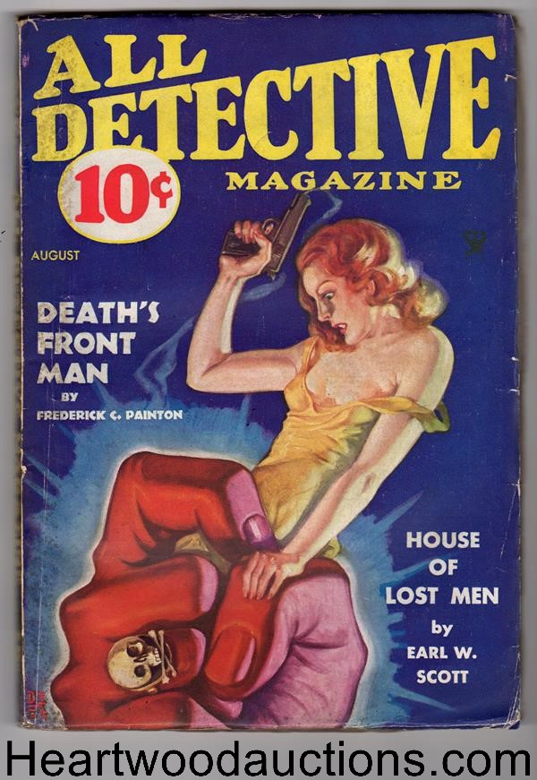 All Detective Magazine August 1934  Rafael DeSoto Cover Nibs Holloway, Painton and Scott Stories