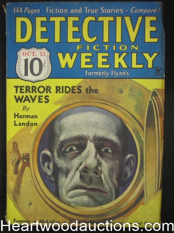 Detective Fiction Weekly Oct 13, 1934 First  David Goodis Story  H. Landon Cvr story