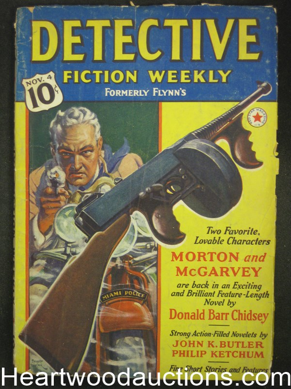 Detective Fiction Weekly Nov 4, 1939 Tommy Gun Cover